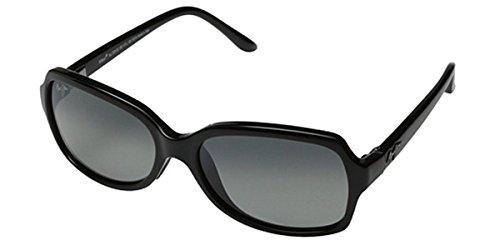 Shiny Grey Sunglasses - Maui Jim Womens Cloud Break 56 Sunglasses (700) Black Shiny/Grey Plastic,Nylon - Polarized - 56mm