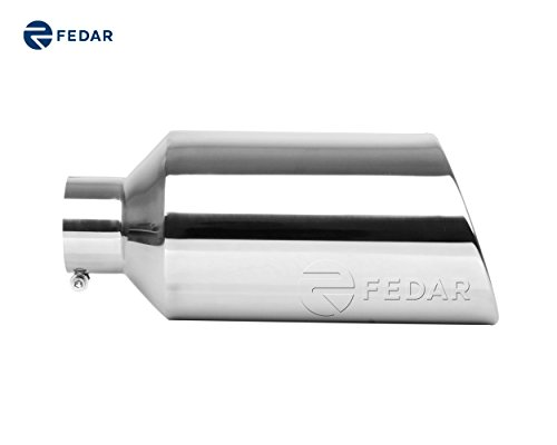 4' Exhaust (Fedar 4'' Inlet 8'' Outlet 18'' Long Rolled End Angle Cut Exhaust Tailpipe Tip)