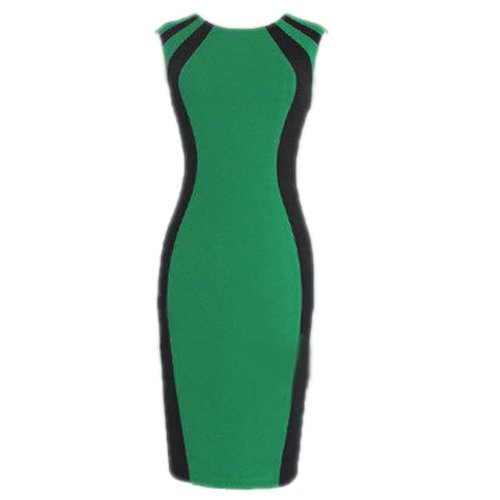 Zeagoo Women's Optical Illusion Color Patch Bodycon Cocktail Party Pencil Dress
