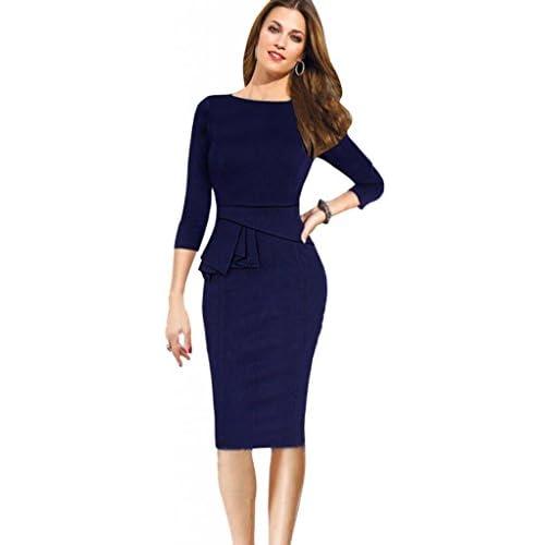 Wholesale Eyekepper Women Elegant Cotton Stretch Tunic Business Party Pencil Sheath Dress free shipping