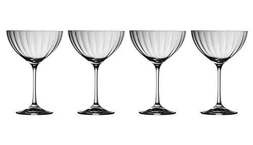 Galway Crystal 32007/4 Erne Saucer Champagne (Set of 4) Martini Glasses, - Champagne Saucer Crystal