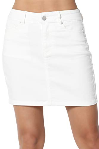 Juniors Denim Mini Skirt - TheMogan Junior's Washed Soft Jean Slim Straight Cut Mini Denim Skirt White S