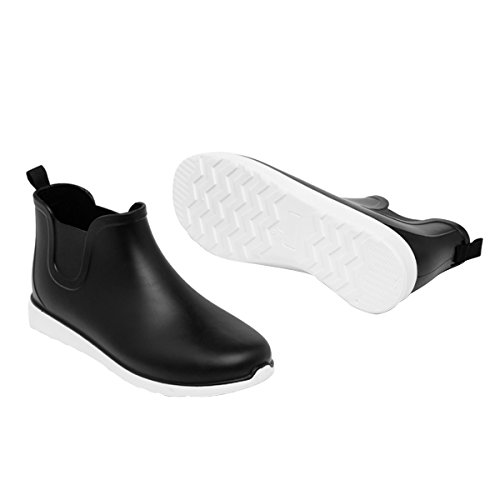 Comfort Ankle On Time Dear Slip Boot waterproof boots Shoes Men Rain Black Flat 0w1qXp7x