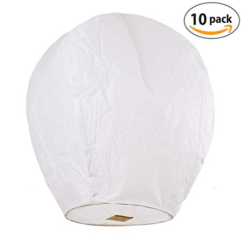 Sky High Chinese lanterns fully assembled and fully biodegradable, sky lantern by Coral Entertainments for any occasion. Birthday, wedding, anniversary, funeral, memorial, 10-pack white by SKY HIGH