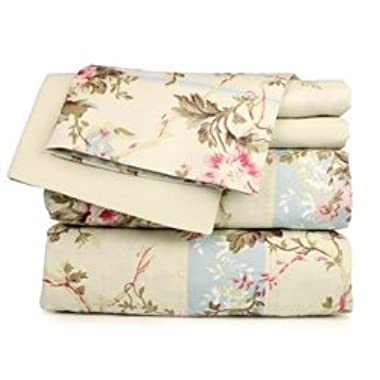 Dor Extreme Super Soft Luxury Floral Six Piece Bed Sheet Set in 6 Prints (Twin, Beige Floral)
