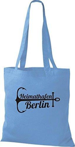 ShirtInStyle Bolsa de tela Bolsa de algodón Puerto Berlín azul claro