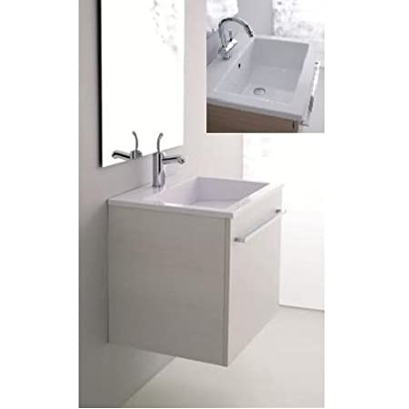 Arredo Bagno Moderno lavabo in Ceramica 60x48 cm Mobile Salva Spazio  lavatoio sospeso I