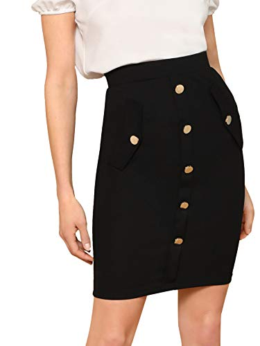 WDIRARA Women's High Waist Zip Back Button Embellished Solid Pencil Skirt Black XS ()