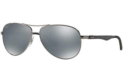 Ray-Ban RB8313 Polarized Carbon Fibre Aviator Unisex Sunglasses (Gunmetal Frame/Polarized Mirror Silver Lens 004/K6, ()
