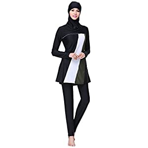 Ababalaya Womens' Modest Burkini Swimsuit Muslim Swimwear Hijab Swimsuit