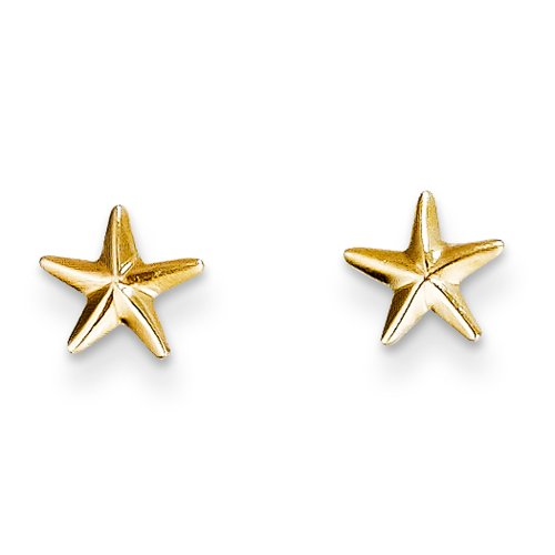 6mm Polished Nautical Star Post Earrings in 14k Yellow Gold