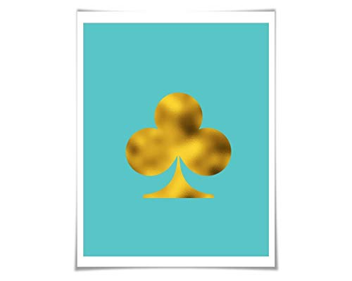 Ace of Clubs Silhouette Art Print. 36 Colours/3 Sizes. Playing Cards. Game Room Poker Wall Decor