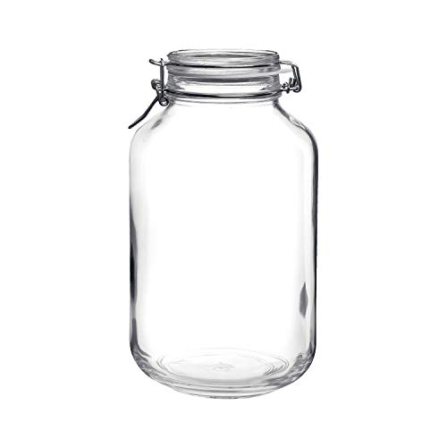 Bormioli Rocco Clear Fido 135.25 Oz Glass Storage Jar: Airtight Lid With Leak Proof Gasket, Wide Mouth Kitchen Food Container for Preserving Jam, Spices, Coffee, Sugar & Herbs