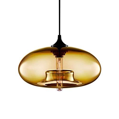 Modern Glass Pendant Light, MKLOT Industrial Minimalism Amber Chandelier Hanging Lighting Fixture with Circular Glass Shade