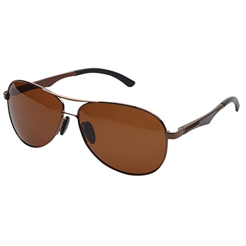 Aoron Aviator Polarized Driving Sunglasses Coffee Frame Brown - Sunglasses Aoron