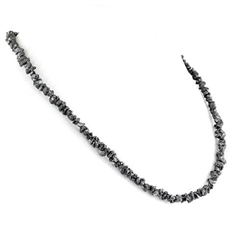skyjewels Uncut Black Diamond Necklace-20-22 .5 mm Beads.AAA.Certified 70ct.with earrings - 082 Diamond