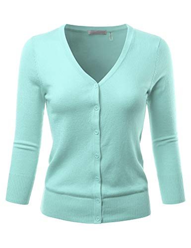 EIMIN Women's 3/4 Sleeve V-Neck Button Down Stretch Knit Cardigan Sweater Iceblue L