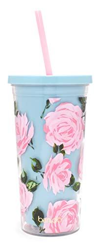 ban.do Floral Insulated Sip Sip Tumbler with Reusable Straw, 20 Ounces (Rose Parade)