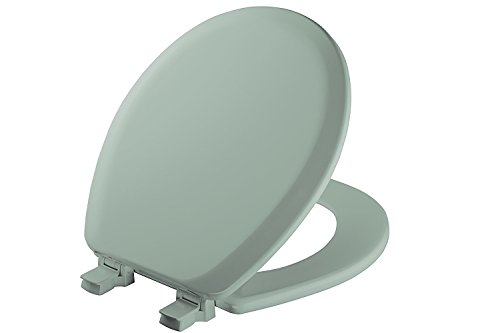 (MAYFAIR Toilet Seat will Never Loosen and Easily Remove, ROUND, Durable Enameled Wood, Seafoam, 41EC 455)