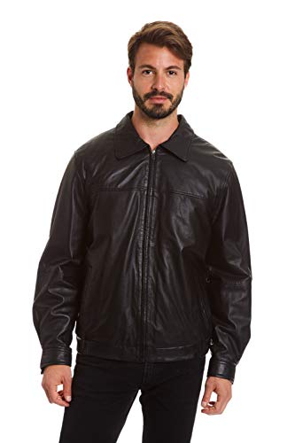 (Excelled Men's Big and Tall Lambskin Shirt Collar Bomber Jacket, Black 2X)