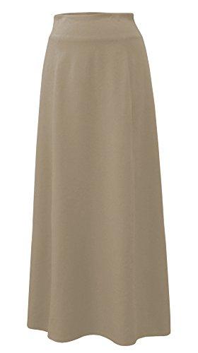 Baby'O Women's Stretch Cotton Knit Panel Maxi A-Line Skirt (Small, Khaki)