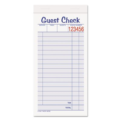 Guest Check Unit Set, Carbonless Duplicate, 6 7/8 x 3 3/8, 50 Forms, 10/Pack, Sold as 10 Each