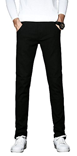 Plaid&Plain Men's Skinny Fit Stretch Chinos Tapered Twill Pants Casual Cotton Pants 812 Black (Plaid Twill Pant)
