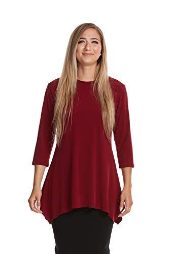 Esteez Womens 3/4 Sleeve Loose Fitting Top EX801163 Daisy Burgandy Large