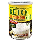 Natures Plus KETOSlim Shake - Vanilla Flavor - .80 lbs, Vegetarian Protein Powder - Low Carb Plant Based Meal Replacement with Critical Keto Nutrients - Gluten Free - 11 Servings