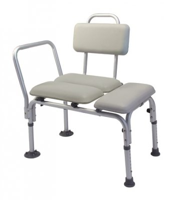 Lumex 7958A Padded Commode Transfer Bench with Tub Clamp, Swing Arm, Pail and Lid by Lumex
