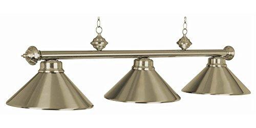 54 Inch 3 Bulb Modern Billiard Chandelier in Antique Brass (Matte Black)