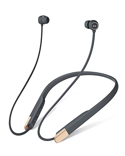 AUKEY Bluetooth 5 Headphones with Magnetic Play/Pause, 3 EQ Modes, aptX Low Latency, USB-C Fast Charge, Key Series B33 Flexible Wireless Neckband Headset with 8h Playtime and IPX6 Sweatproof for Gym