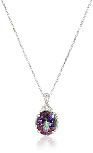 Sterling Silver Mystic Fire Topaz and Diamond-Accented Oval Pendant Necklace, (Mystic Fire Topaz Necklace)