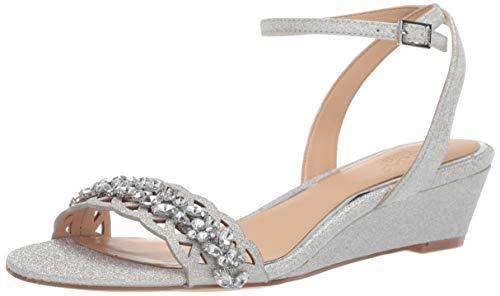 Jewel Badgley Mischka Women's KINDLE Sandal, silver glitter, 5.5 M US from Jewel Badgley Mischka