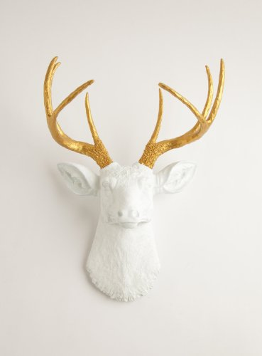 White Faux Taxidermy The Alfred White Resin Deer Sculpture H