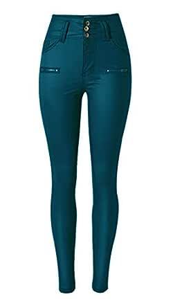 "Ecupper Womens Dark Blue Faux Leather Pants High Waisted Skinny Coated Leggings 29"" Inseam-Regular 3XL"