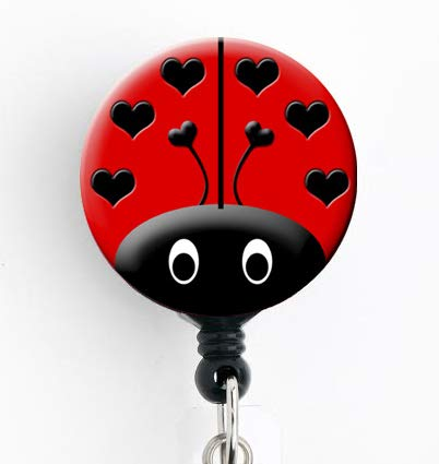 Ladybug Red - Retractable Badge Reel with Swivel Clip and Extra-Long 34 inch Cord - Badge Holder Cute Badge Reel
