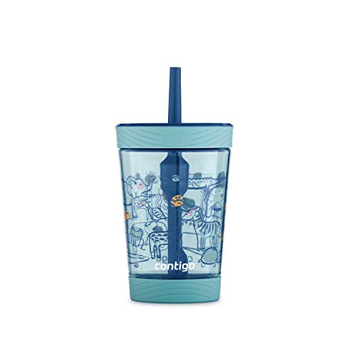 Contigo Spill-Proof Kids Tumbler with Straw 14 oz, Agave with Zoo Animals