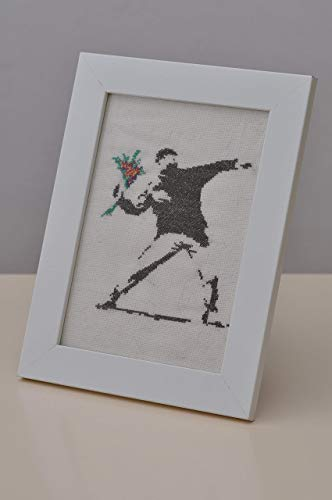 - Banksy - Flower thrower - Cross Stitch in Frame