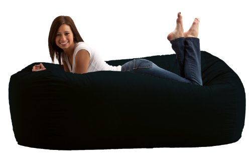 6-Feet Media Lounger, Black Twill