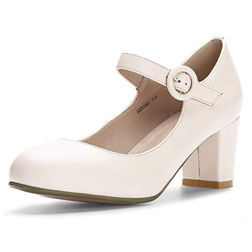 IDIFU Women's RO2 Candy Classic Low Chunky Block Heel Mary Jane Round Toe Buckle Strap Office Work Pumps Shoes (6 M US, Nude Pu) ()