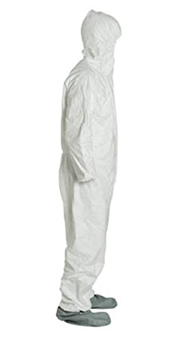 2XL Tyvek Coverall W/ Hood, Zipper, Elastic Wrist & Ankle, With Attached Booties (2XL-25 Suits / 1 Case) TY122S WH-2X-CASE by Tyvek (Image #1)