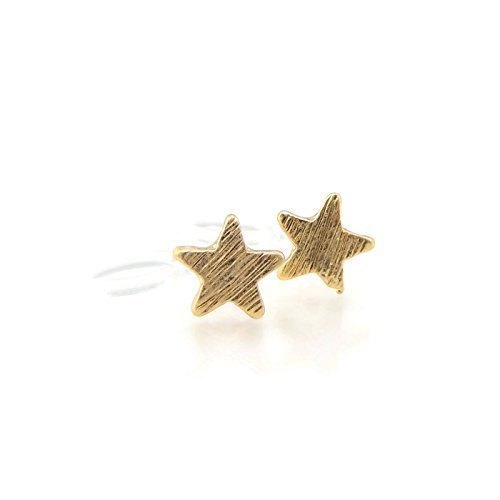 Tiny Star Stud Invisible Clip On Earrings, 6mm Brushed Gold-Tone