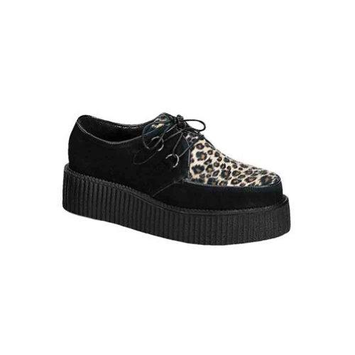 Pleaser Mens Creeper-400 Creeper Black Suede-cheetah Fur Qla94hYgs