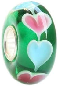 Calvas 925 Sterling Silver Large Hole Colorful 3D Heart Petals Murano Glass Charm Beads Fit European Bracelet Jewelry Color: 3