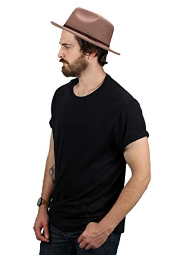 Fedora Hats for Men by King & Fifth | Wide Brim Fedora with Low Crown + Felt Fedora Hat