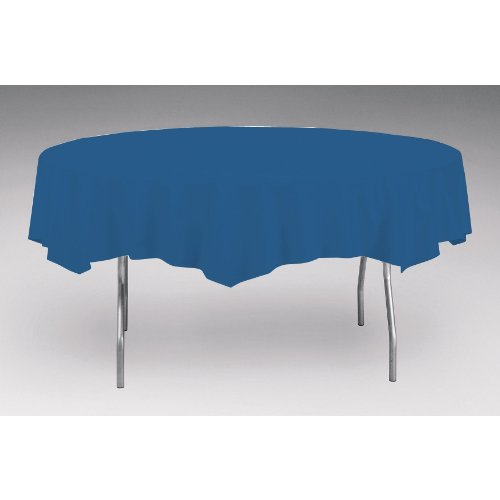 Creative Converting Octy-Round Plastic Table Cover, 82-Inch, Navy ()