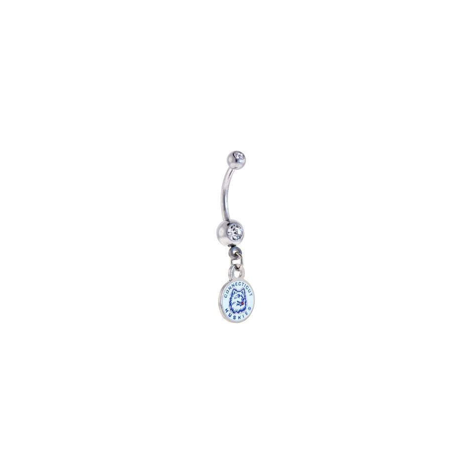 NCAA UCONN Huskies DOUBLE Crystalline Gem Belly Ring   University of Connecticut