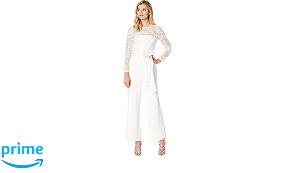 1981b045da85 Amazon.com  Tahari by ASL Women s Long Sleeve Lace   Crepe Jumpsuit Ivory  16  Clothing