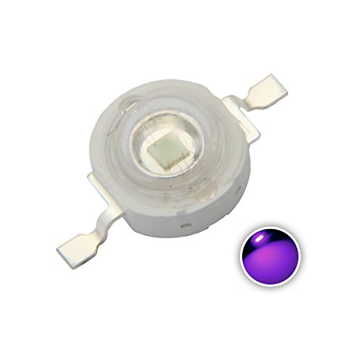 Chanzon 10 pcs High Power Led Chip 3W Purple Ultraviolet (UV 395nm/400mA-500mA/DC 3V-3.2V/3 Watt) SMD COB Light Emitter Components Diode 3 W Ultra Violet Bulb Lamp Beads DIY Lighting ()